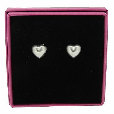 Heart Stud Earrings Brushed Finish 925 Sterling Silver Jewellery 10mm Gift Boxed