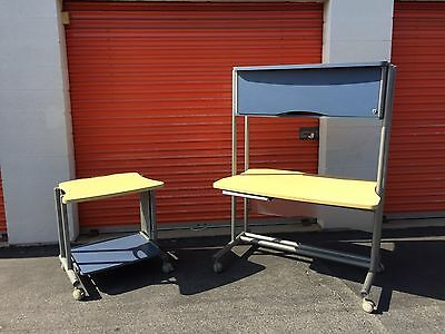Anthro Computer Office Desk Mobile Cart Table Workstation Large Casters Set