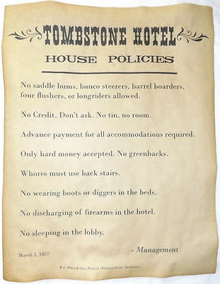 Tombstone Hotel House Policies Poster, 11x14, rules, old west, western, wanted