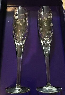 "New Set of 2 2000 Celebration Champagne Flutes in Box 9 7/8"" - Royal Doulton"