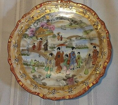 Antique 1850 Estate Museum Quality Japanese Kaga Kutani Marked Plate Gilded 7''