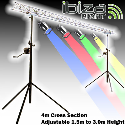 Ibiza Light 4m 2x2m Lightbridge Mini Truss with 1.5m - 3m Winch / Wind Up Stand