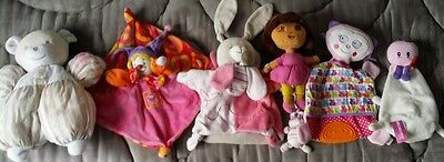 Lot doudous peluches marionnette MOULIN ROTY orchestra tartine chocolat dora