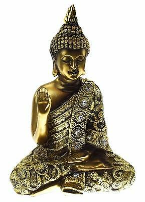 Antique Bronze Thai Buddha Figurine 24cm Right Hand Up New Boxed 61505