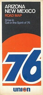 1972 UNION 76 Road Map ARIZONA NEW MEXICO Route 66 Santa Fe Phoenix Albuquerque