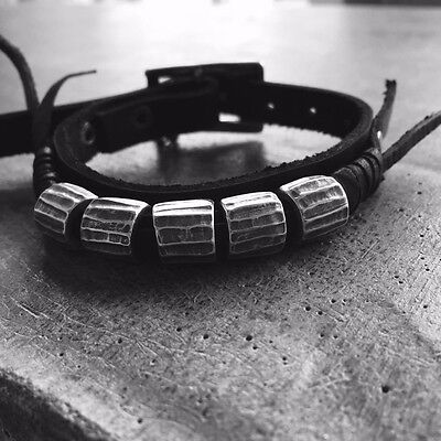 Bracelet Unisex Black Leather Silver Details Dark Fashion Monochromatic Handmade