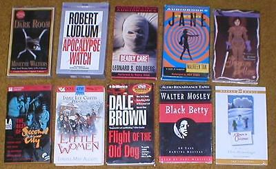 Lot of 10 Audiobooks on Cassettes Fiction ~ Robert Ludlum, Dale Brown, etc...