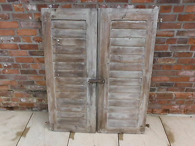 Pair of Genuine Vintage Wooden Shutters Excellent Condition No Rot Lovely Patina