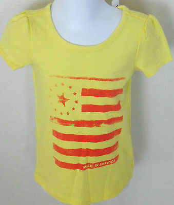 BABY GAP Girl/'s Yellow American Flag Short Sleeve Tee Shirt Size 3T