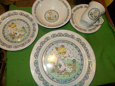 Vintage Precious Moments Place Setting Dinner Plate Bowl Cup & Saucer Pie Plate