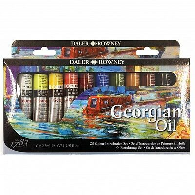 Daler-Rowney Georgian Oil Colour Introduction Set (10 x 22ml)-Brand New & Boxed