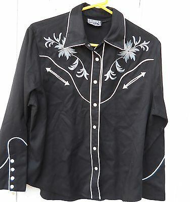 Classic Men's Western Black With White Piping Snap Button Long-Sleeve Shirt Sz-L