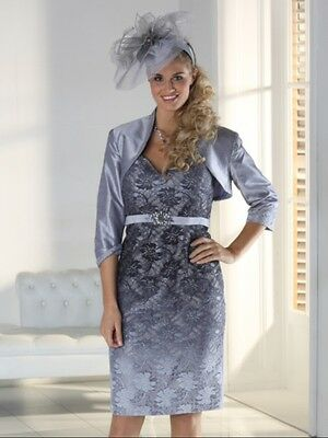 Mascara Outfit Silver Lace Dress & Bolero BNWT Size 16 rrp £299