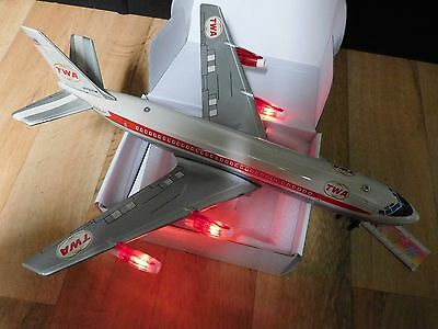 Marx Toys Boeing TWA Airplane Tin Toy Japan Lith Jet Plane Flieger Blech Vintage