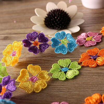 Newly Flower Ribbon Trims Colorful Embroidery Trimmings Charming Sew On Applique