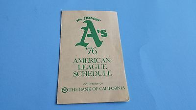 1976 MLB Oakland Athletics Pocket Schedule***The Bank of California***