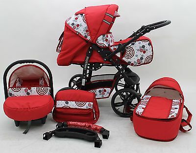 Baby Pram Pushchair Stroller Buggy  3-in-1 Travel System Foam Wheels FREEBIES
