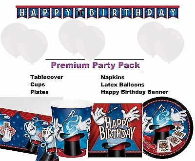 Magic Magician 8-48 Guest Premium Party Pack | Tableware | Balloons | Decoration