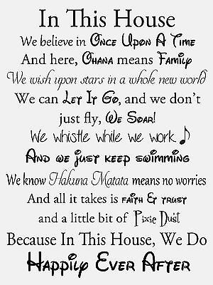 In This House We Do Disney - High Quality Glossy Photo Print - A4 Size - Style 2