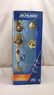 New Schlage Home Front Door Entry Lock Knob Plymouth Handle Set Bright Brass