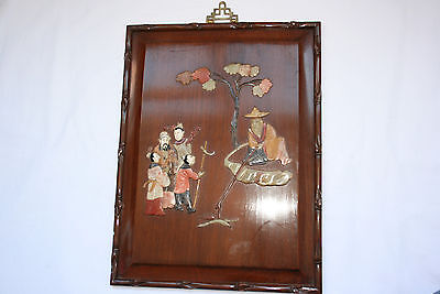 Chinese Wooden Inlayed Soapstone Bone Hanging Picture #2
