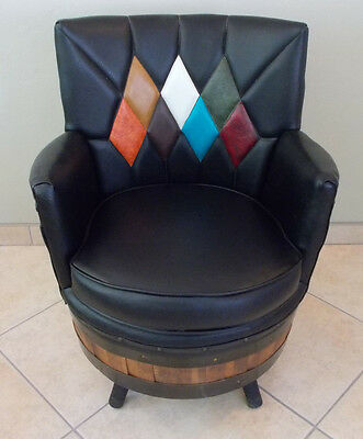Mid Century Modern Brothers KY Whiskey Barrel Swivel ACCENT Arm Chair--MINT!!
