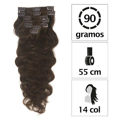 9 Bandes D'extensions A Clips Cheveux 100% Naturels Ondule Indian Remy Hair 55Cm
