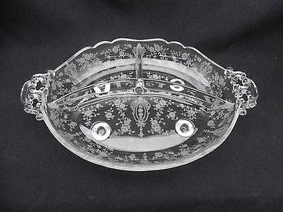 Vintage Cambridge Glass Rose Point 4 footed 3 section Divided Dish w Handles