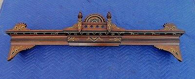 Rare Expandable Walnut Victorian Ebony and Gold Window Cornice  51 to 60 inches