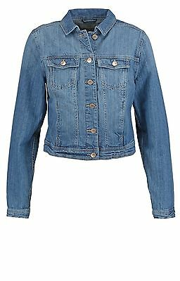 New Look Light and Dark Blue Cropped Denim Jacket Size 4 6 8 10 12 14 16 18