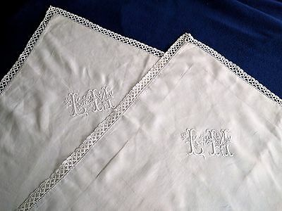 "Pair of embroidered antique French linen pillowcases shams monogram ""LM"" lace"