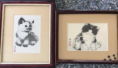 Pair Of Vintage Prints Of Japanese Drawings Sumi Style Ink Wash Cats Kittens