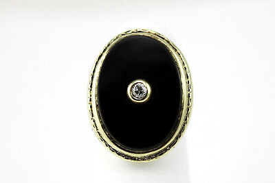 Vintage Estate Black Onyx Diamond Large Oval 14K Yellow Gold Ring Cut Out Sides