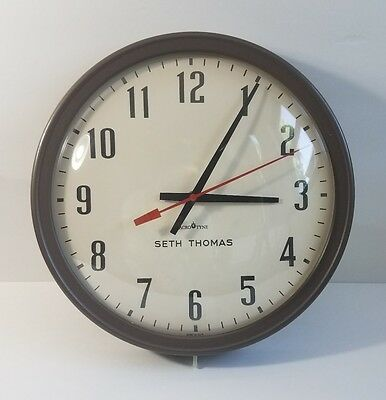 Vintage Seth Thomas Industrial Factory/school House Wall Clock Bubble Glass