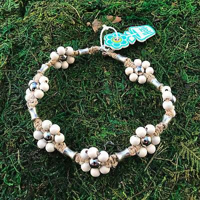 HOTI Hemp Handmade Natural White Flower Wood Beaded Floral Anklet Ankle Bracelet