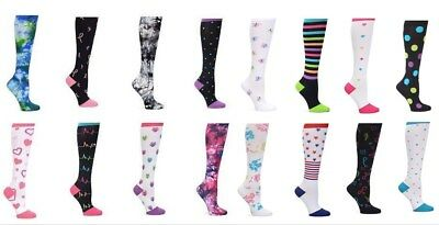 2b29a417e2 High Knee Nurse Mates Women Compression Trouser Socks Pair Print Assorted  Colors