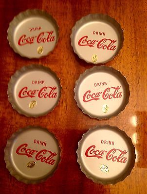 Coke Coca-Cola Vintage Soda Cap Metal Coasters Lot Of 6 Made In Hong Kong 3 Inch