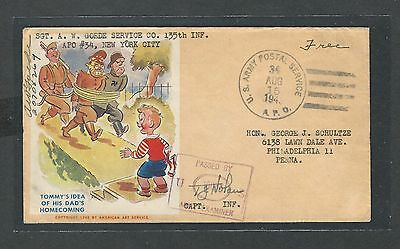 mjstampshobby 1943 US Army Postal Service Cover VF Cond (Lot1450)