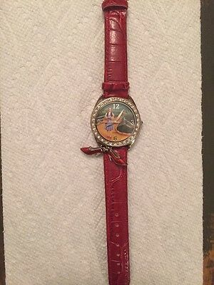 Dorothy Wizard Of Oz Watch W/ Red Slippers Charms, Red Leather Works