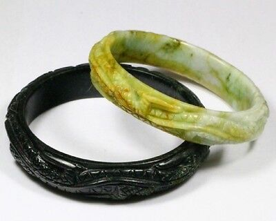 natural Myanmar Burmese hand carved jadeite dragon bangle inner 63 mm