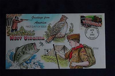 Greetings From America West Virginia Stamp FDC HP Collins#L3548 Sc#3608 Scouting