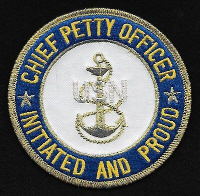 """United States Navy Chief Iron On Patch 4/"""" Officially Licensed 10422 Free Ship"""