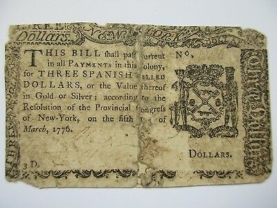 Colonial Currency New York 1776, $3, Good