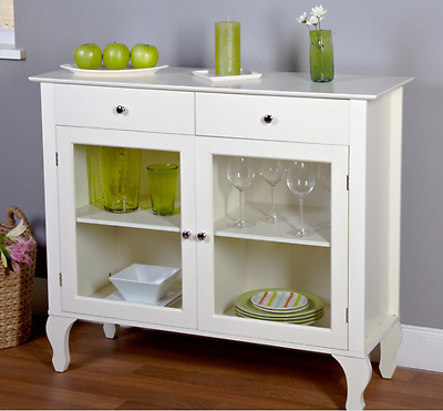 Buffet Table White Sideboard Cabinet Wood Kitchen Storage Sofa Dining Room Glass