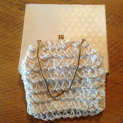 Vintage Beaded White Evening Bag Hand Made In Hong Kong (Like New)