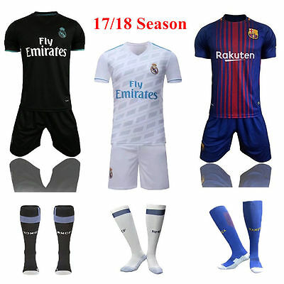 Newest 17/18 Jersey Football Soccer Short Sleeve Kit 3-13Yrs Kids Suit & Socks