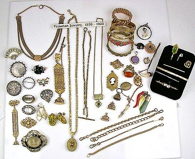 Collection 51pc Victorian GF SS Pins Necklaces Bracelets Charms Earrings  Lot P