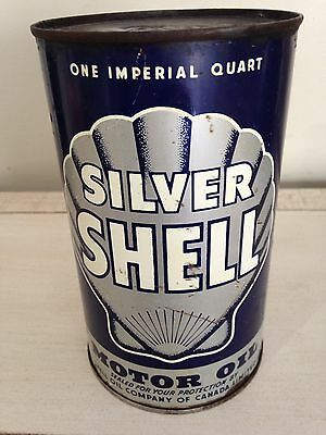 Antique Silver Shell Motor Oil Tin Can, Imperial Quart Canada Gas Pump Sign Rare