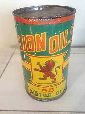 RARE EARLY Lion Oil Imperial Quart Motor Oil Tin Can Gas Pump Sign