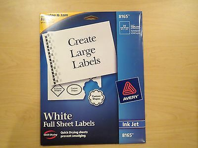 AVERY 8165 Inkjet Full Sheet Labels, Quick Drying sheets prevent smudging, 8-1/2